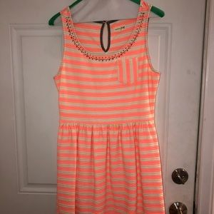 Pink and white striped dress.